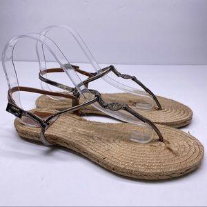 Tory Burch Silver Miller Logo Thong Sandal